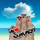Finger family travels at the beach and we love summer word Stock Photos