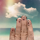 Finger family travels at the beach. And singing a song as vintage style concept Stock Photos