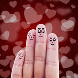 Finger family valentine design. Human hand gesturing 4 member of family on red heart shape background Royalty Free Stock Images