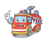 Finger fire truck mascot cartoon. Vector illustration Royalty Free Stock Photography