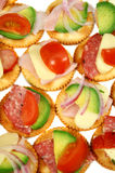 Finger Food 1. Finger food of cracker biscuits with various toppings Royalty Free Stock Images