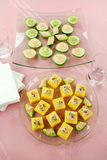 Finger Food. Of tuna filled polentas and cucumber rounds ready to serve Stock Photography