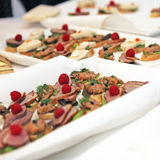 Finger food at the buffet or tapas. Close up - square Royalty Free Stock Photography