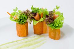 Finger food carrot salad roll Stock Photo