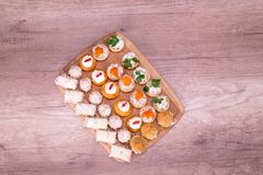 Finger food catering, top view Royalty Free Stock Photography