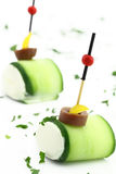 Finger food with Cucumber and cheese Stock Photography