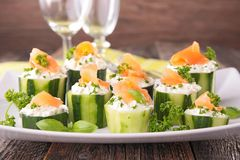Finger food with cucumber, Royalty Free Stock Images