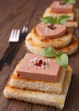 Finger food with foie gras Stock Photos