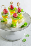 Finger food with fruits and mint for party Royalty Free Stock Photography