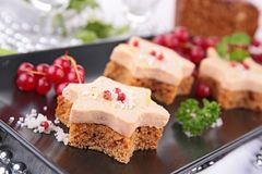 Finger food. Ginger bread and foie gras Royalty Free Stock Images