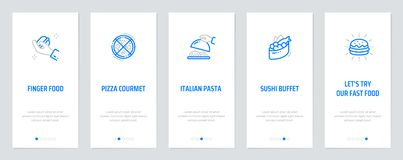 Finger food, Pizza courmet, Italian Pasta. Sushi buffet, Lets try our fast food Vertical Cards with strong metaphors. Template for website design stock illustration