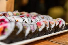 Sushi dish at an event royalty free stock photo