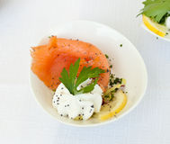 Finger food with smoked salmon Royalty Free Stock Photo