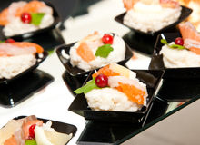 Finger food with smoked salmon Royalty Free Stock Photos