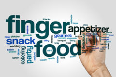 Finger food word cloud concept on grey background Royalty Free Stock Photos
