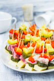 Finger foods toothpicks appetizer Royalty Free Stock Photo