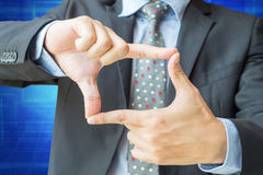 Finger frame action of businessman with clipping path Stock Images