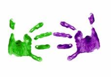 Finger gemalter Händedruck Stockfotos