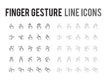 Finger gesture vector line icon - app and mobile web responsive Royalty Free Stock Photo