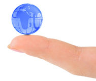 Finger and globe Stock Photography