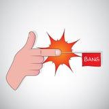 Finger gun - bang. Illustration showing a gun by hand gesturing Royalty Free Stock Photos