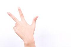 Finger hand girl symbols isolated concept three fingers salute congratulation on white background. The finger hand girl symbols isolated concept three fingers Stock Images