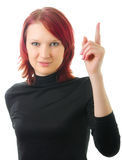 Finger of hand lifted up. Beautiful girl with the finger of hand lifted up Royalty Free Stock Photography