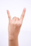Finger hand symbols  the concept devil horn rock and roll gesture shape on white background Stock Images