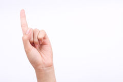 Finger hand symbols  concept god thumbs pointing pray on the white background Royalty Free Stock Image