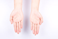Finger hand symbols concept open the palm of the hand lift and put your hand up  on white background Stock Photography