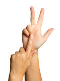 Finger hand symbols. Concept three fingers salute congratulation on white background Royalty Free Stock Photography