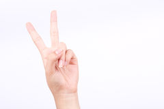Finger hand symbols  concept two points lesson learn teaching and victory sign on the white background Stock Image
