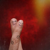 Finger happy couple in love creative design Royalty Free Stock Photography