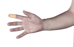 Finger with Healing plaster. Stock Photos