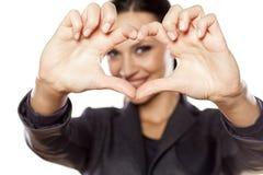 Finger heart frame Stock Image