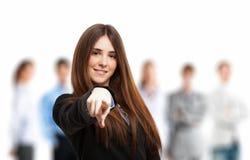 finger henne som pekar kvinnan Royaltyfri Foto