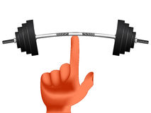 Finger holding weights. Against white background, abstract vector art illustration; image contains gradient mesh Royalty Free Stock Photos