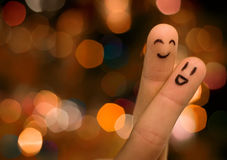 Finger hug. On nice bokeh Stock Images