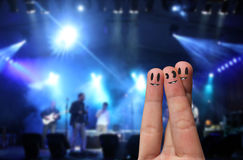 Finger Hug at an open-air live concert Stock Images