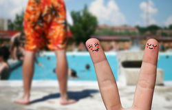 Finger hug on Summer Vacation theme Royalty Free Stock Photos