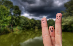 Finger hug on Summer Vacation theme Royalty Free Stock Image