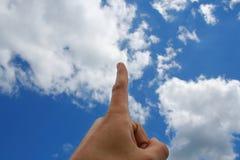 Finger im Himmel Stockfoto
