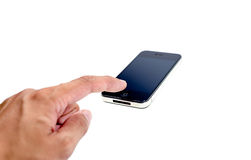 Finger im Presse-Handy auf Isolat Stockbild