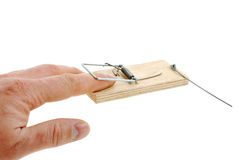 Finger In A Mousetrap Stock Image