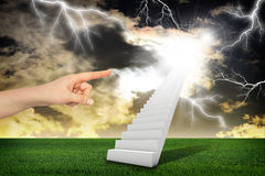 Finger indicates stairway with thunderstorm Royalty Free Stock Images