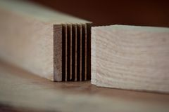 Finger Joint - Carpentry wood joint stock photography