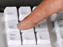 Finger on the keyboard Royalty Free Stock Photos