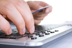Finger on the keyboard Royalty Free Stock Photography