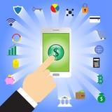Finger-klopfender Dollar unterzeichnen herein Smartphone mit Fintech-Ikonen vektor abbildung