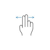 2 Finger left and right line icon, hand gestures Stock Image